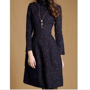 Multiflora Navy Tweed Dress M EUC